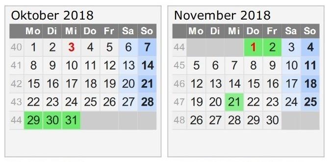 Travellers Insight Reiseblog Urlaub 2018 Kalender Oktober November Schulferien.org