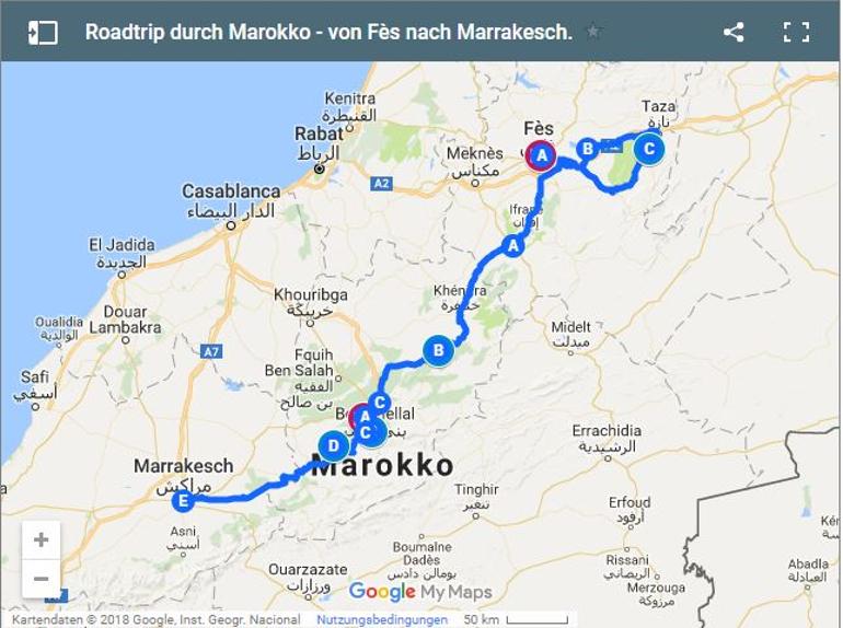 Travellers Insight Reiseblog Marokko Roadtrip Karte